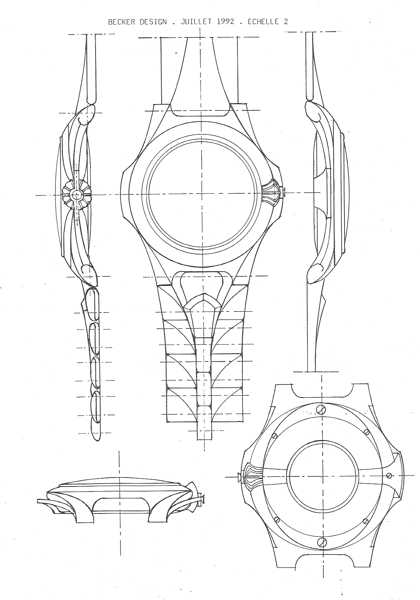 Michel BECKER - Design de la montre SCULPTURE de PATEK-PHILIPPE - Planche de dessins montre ronde