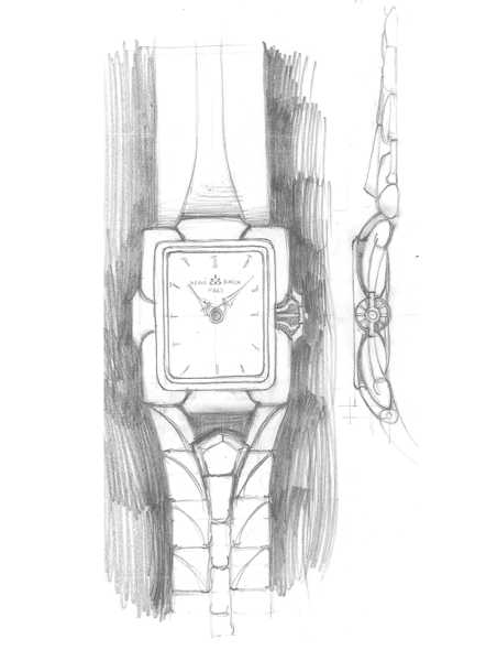 Michel BECKER - Design de la montre SCULPTURE de PATEK-PHILIPPE - Planche de dessins montre rectangle